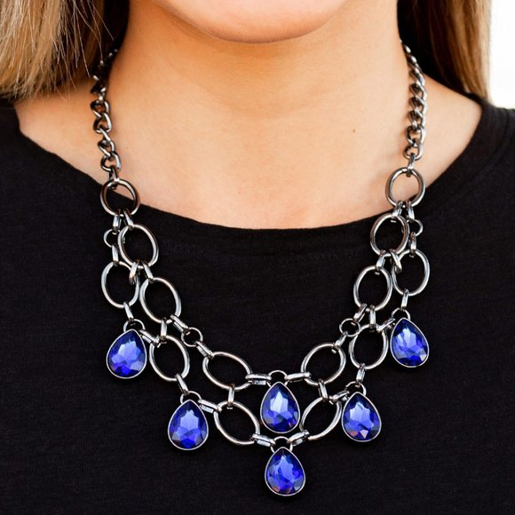 Paparazzi Show Stopping Shimmer Blue Necklace